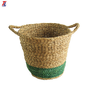 wholesale natural seagrass woven colorful storage basket with handles