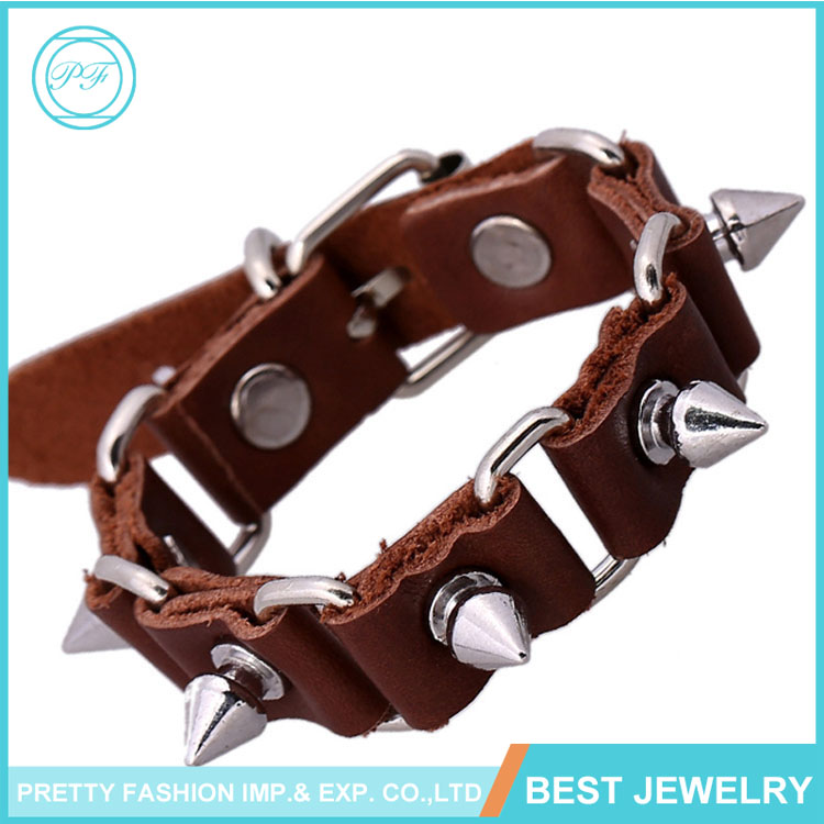 Brown fashion rivet wristband bangle /woven wristband woven pure leather bracelet