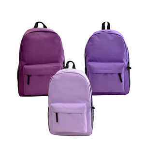 2017 fashion pure color logo customized canvas blank backpack