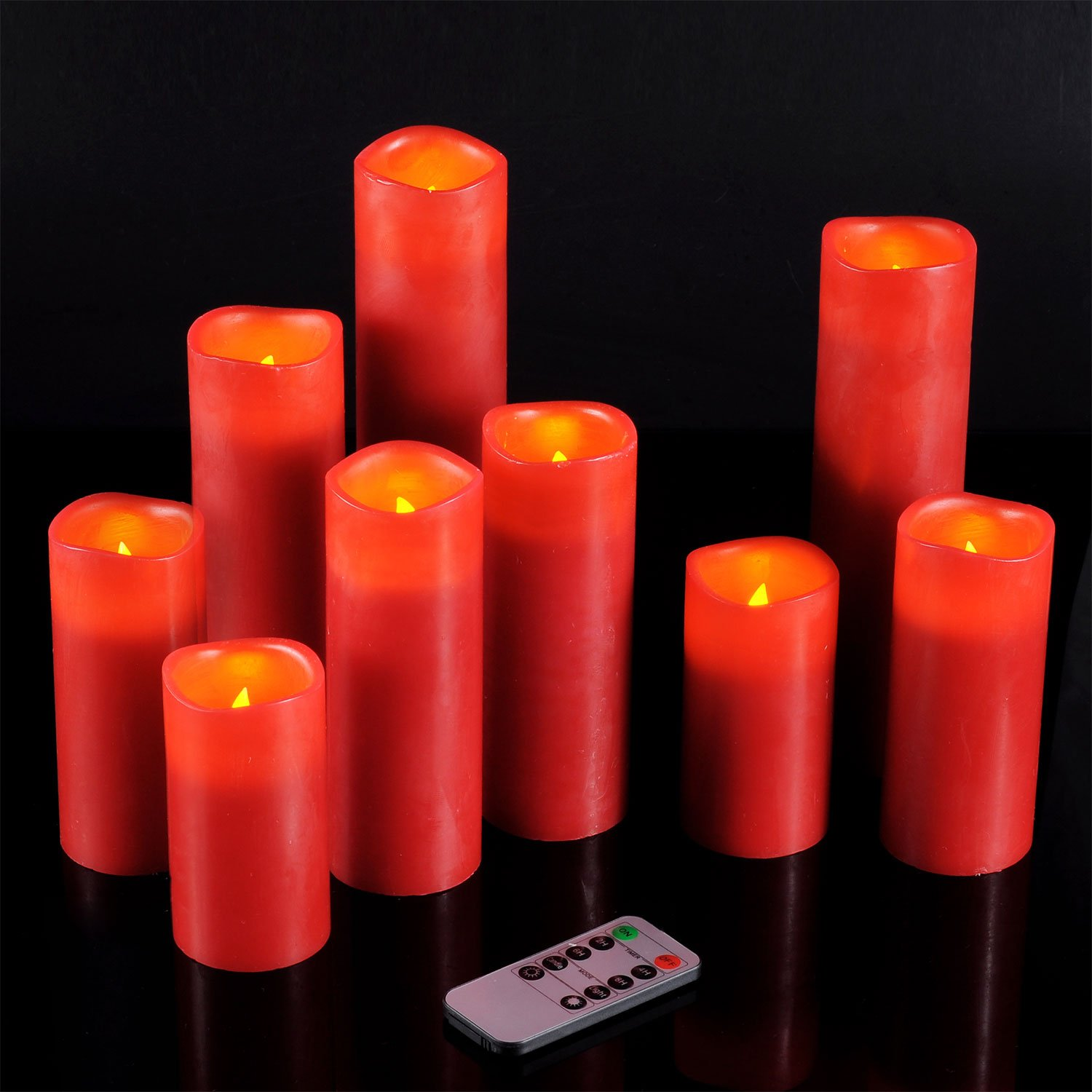 """Ry-king 4"""" 5"""" 6"""" 7"""" 8"""" 9"""" Pillar Flickering Flameless LED Candles with 10-key Remote Timer, Set of 9"""