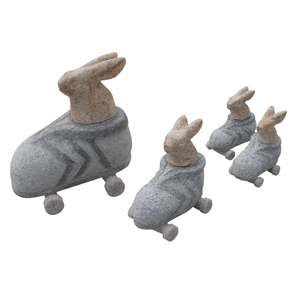 H284 Animal Statue Granite Marble Rabbit Carving