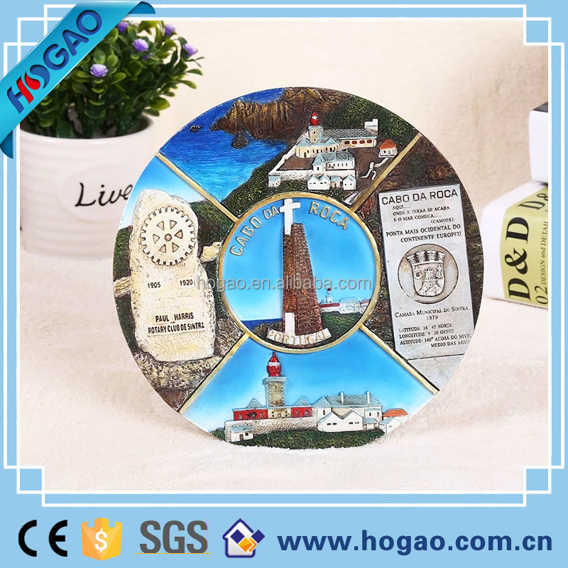 resin 3D souvenir round plate scenery wall hanging tourist gift high quality