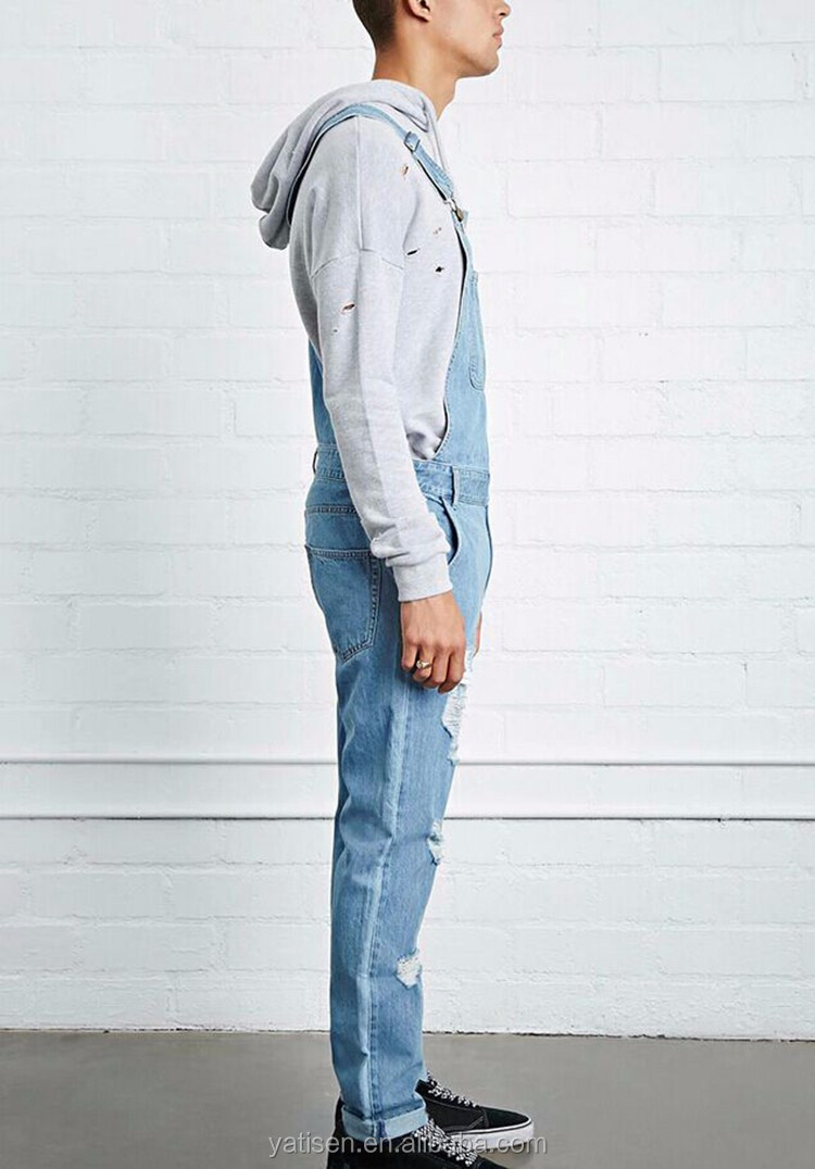 Trend 100% Cotton Distressed Denim Suspender Trousers Overall mens denim Jeans