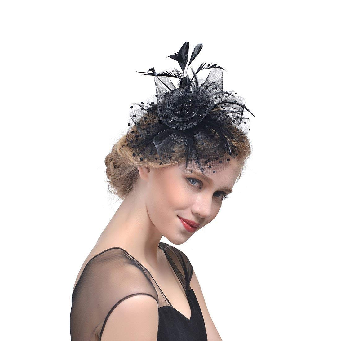 610f6f5fb40 Get Quotations · Industriu Fascinator Hats for Woman Kentucky Derby Headband  Fascinator Clip with Black Feathers