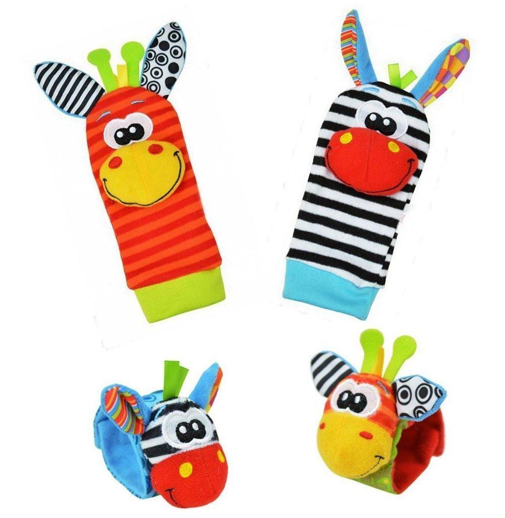 SUPETE Animal Wrist and Sock Rattle Soft Developmental Toy Gift Set 4 Pcs - Zebra & Giraffe (Zebra & Giraffe)