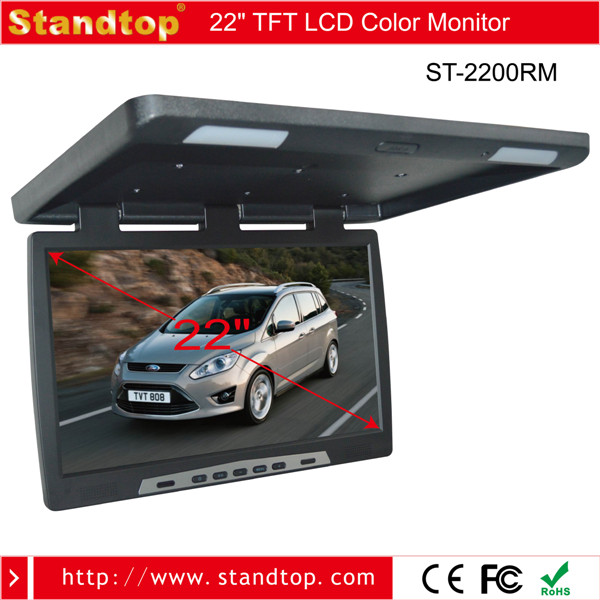 22 Inch Flip Down Car Monitor with Ceiling TV Mount