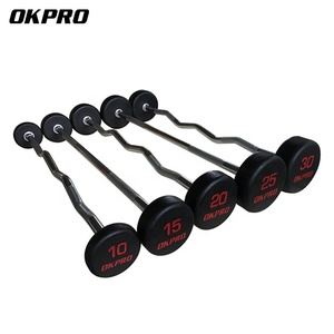 Weightlifting Barbell Chrome Handle Fixed Rubber Barbell Set