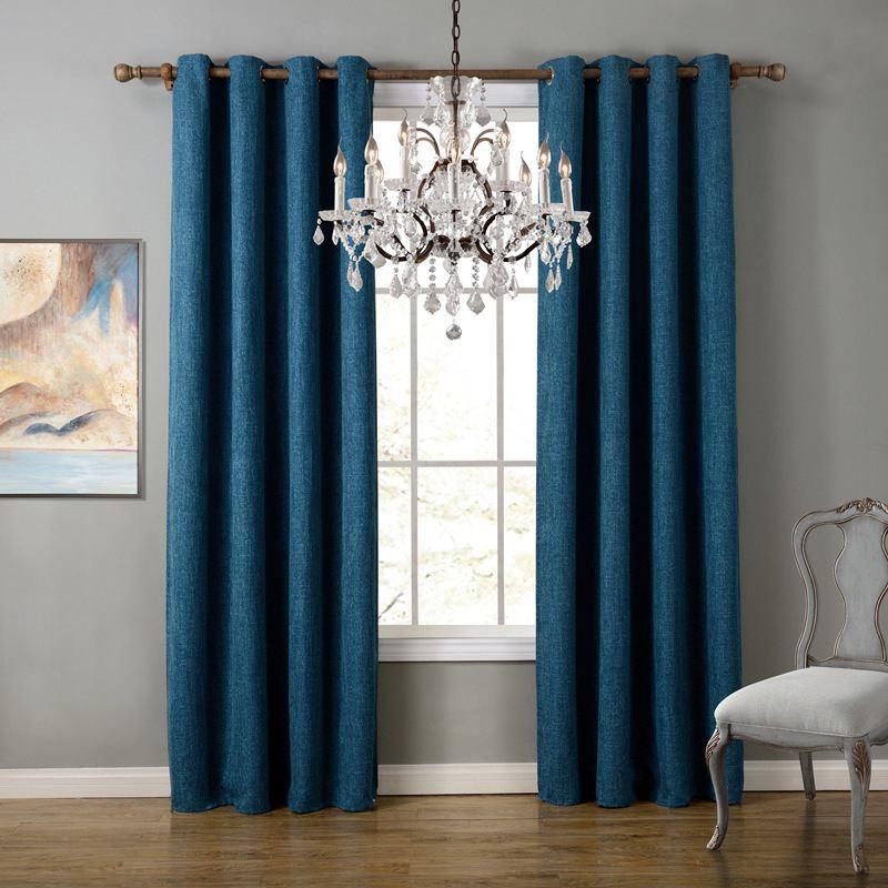 Unikea 1-Piece الكتان القطن الأزرق ستارة غرفة المعيشة ...