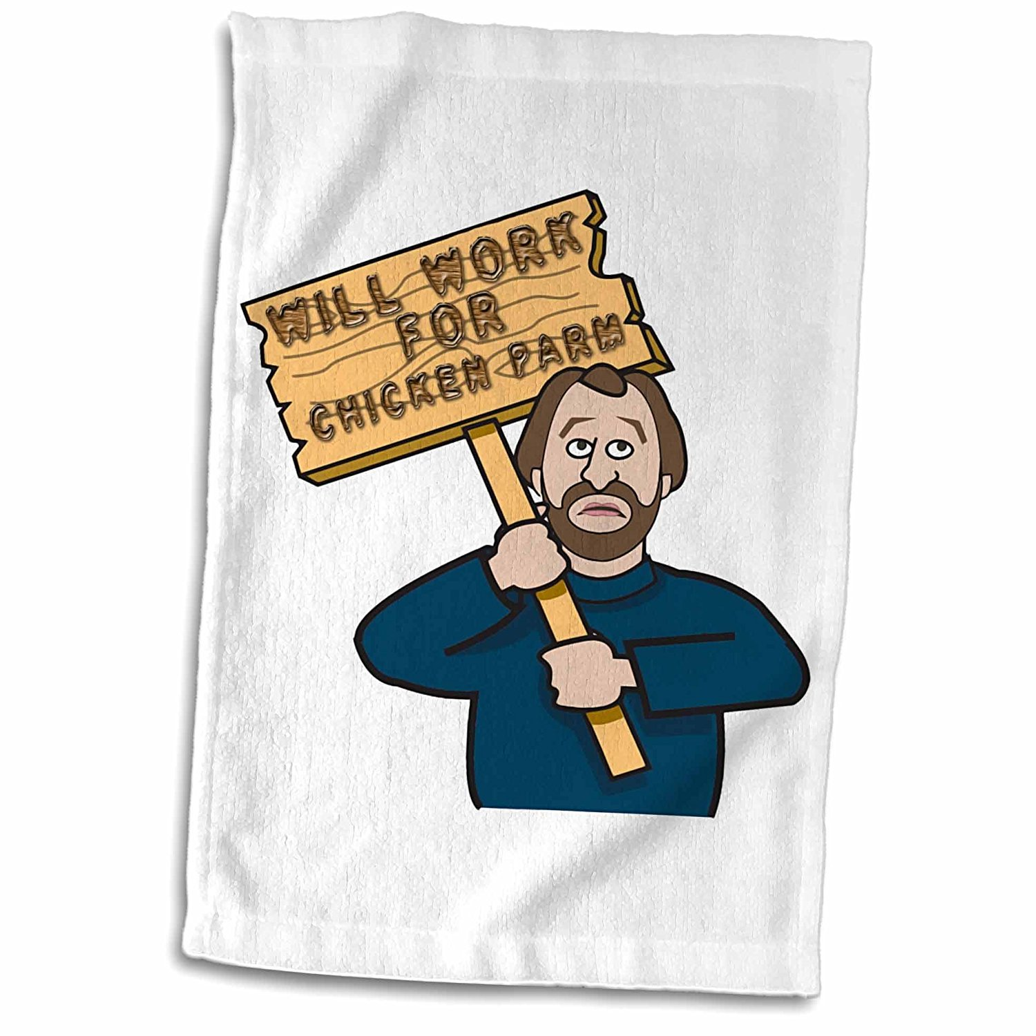 3dRose Dooni Designs Humorous Bribery Signs Sarcasm Designs - Funny Humorous Man Guy With A Sign Will Work For Chicken Parm - 12x18 Towel (twl_117049_1)