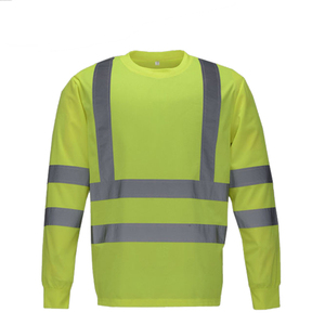 Men Cheap Long Sleeve Collar Safety Reflective Tape Water Proof Work T-Shirt Wholesale