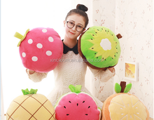 lovely cartoon fruit style 1x 1.7m watermelon strawberry orange children plush 2 in 1 set folding pillow blanket