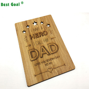 Personalised Hero Dad Father's Day Handmade Wood greeting card