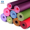 Wholesale eco travel 8mm 10mm private label pink purple colorful custom print tpe yoga mat
