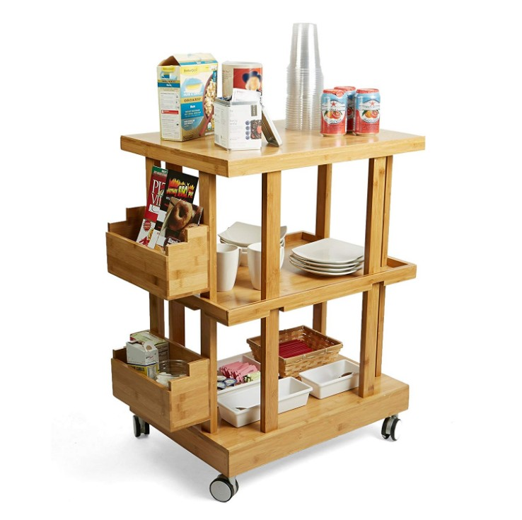 3-Tier Bamboo Wood Kitchen Utility Cart with 2 Storage Compartments 11
