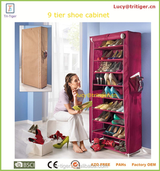 Portable 10 Layer 9 Grid Shoe Rack Shelf Storage Closet Organizer