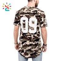 Oversize short sleeve T-Shirt military camo T shirt Curved Hem streetwear mens clothing t shirts for printing