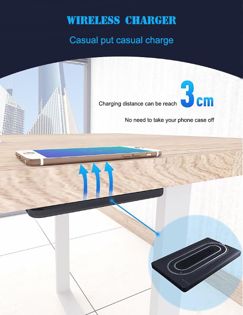 New technology long range 3cm hidden under desk wireless phone charger for hotel restaurant coffee shop