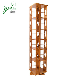 Bamboo Modern Revolving Decorative Collection Bookcase