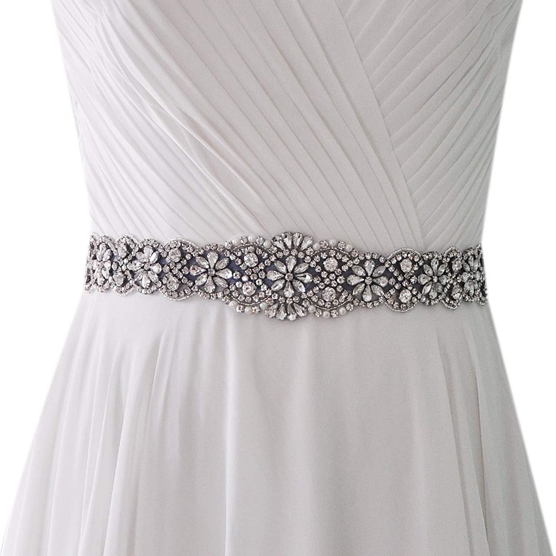 ULAPAN Womens Pearls Wedding Dress Belt Sash Crystals Bridal Sash Belt,S381