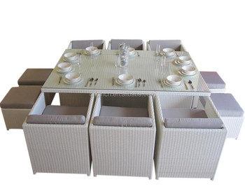 Set Giardino In Rattan.White Space Saving Cube Out Door Table And Chairs Furniture Wicker