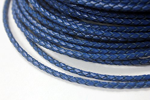 AaaZee 5 Yards 3mm Leather Bolo Cord for Necklace Bracelet Making Woven Braided Leather Strap for Jewelry Beading Royal Blue