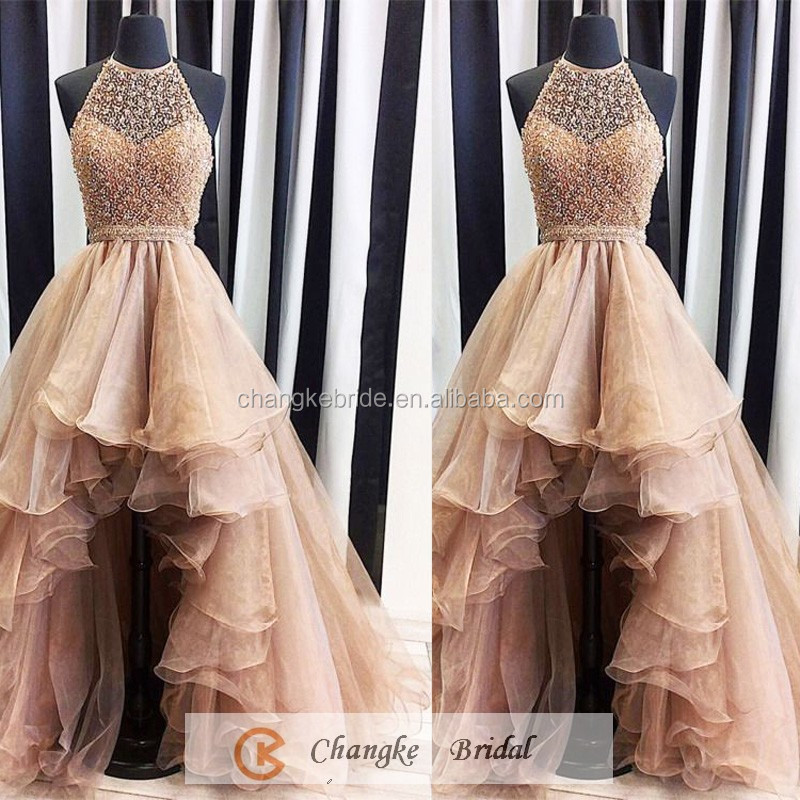 New Arrival Party Dresses Ruffles Sequins Organza Blush Long Prom Dress 2016
