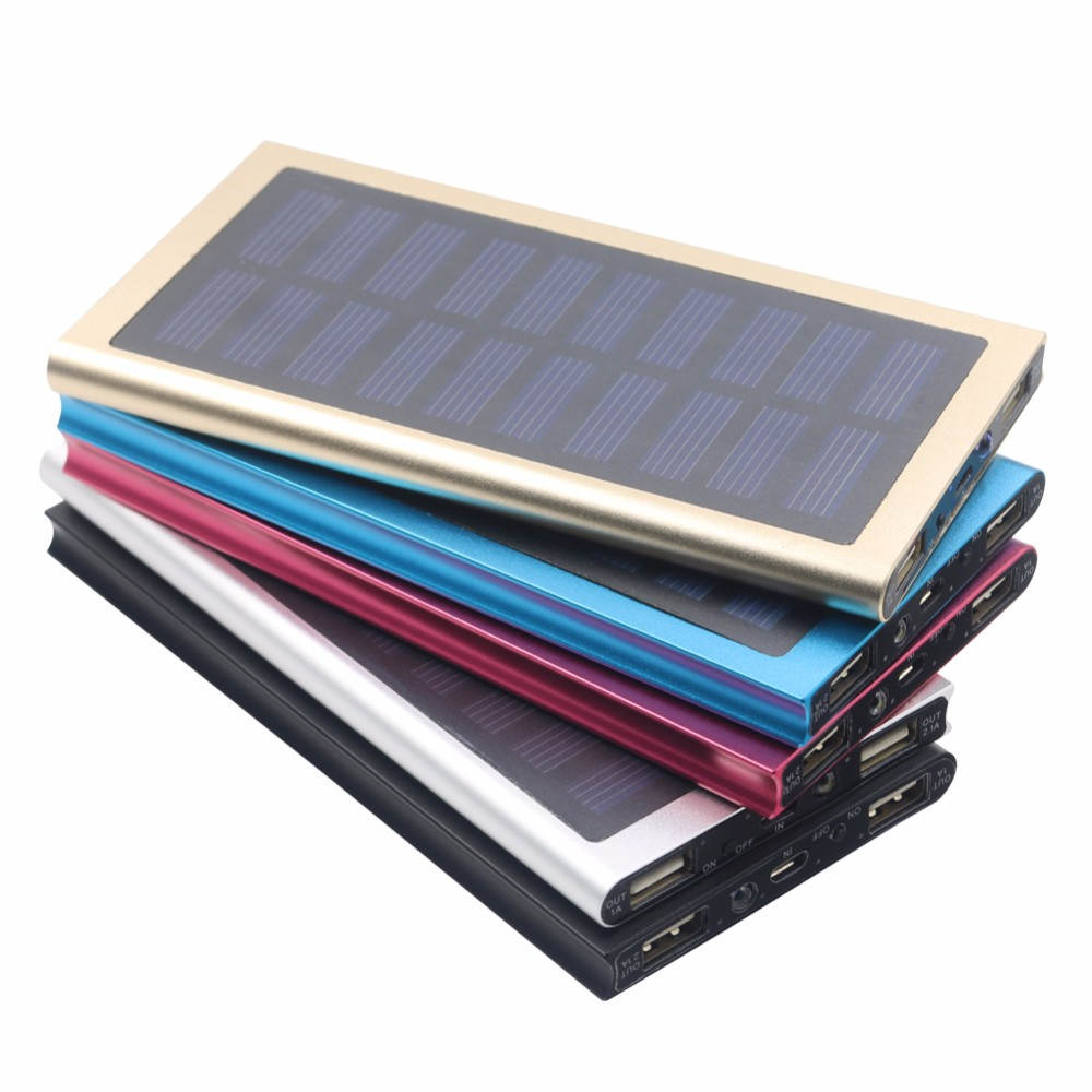 Ultra Slim Solar Power Bank 12000mAh Portable Solar Charger Aluminum External Battery Backup Ultra Thin Solar Power bank