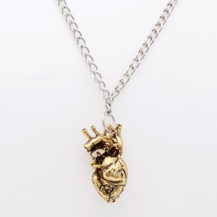 Anatomisches Herz Halskette Vintage Silber Und Bronze Anhänger ...