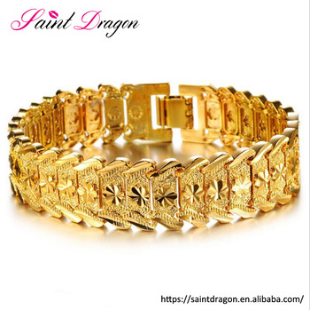Aliexprss Hot Saling Flower Design Dubai Gold Jewelry Real Plated Men Bracelet Birthday Gift