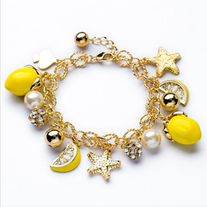 Yellow Fruit Lemon Charms Gold Beads Chains Bracelet