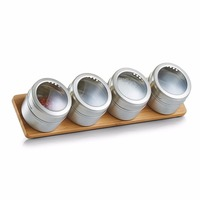 Modern design kitchen magnetic steel spice jars with natural bamboo storage stand rack