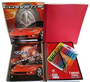 Corvette Muscle Car Themed School Supply Bundle: 7 Items – Includes, (1) Muscle Car Two Pocket Folder, (1) Muscle Car Spiral Notebook, (2) Three Prong 2 Pocket Folder, (2) One Subject Spiral Notebook, (1) Pack Assorted Multicolored Medium Pens Eight with Bonus Stylus Pen (Red)