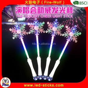 China Gold Supplier Snowflake LED Wands 2016 Christmas Party LED Lighting Stick With Snowflake Shape