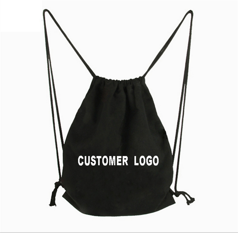 Manufacturer Customized Logo canvas cotton drawstring backpack