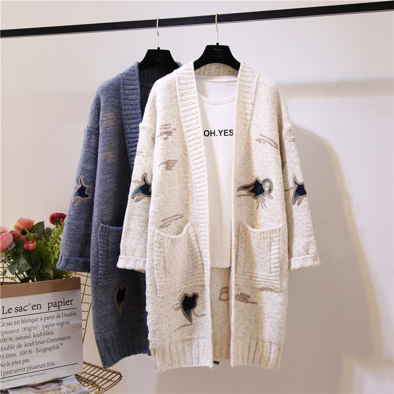 2018 winter autumn latest v-neck front open embroidery lady packets coat women knitted <strong>long</strong> <strong>cardigan</strong>