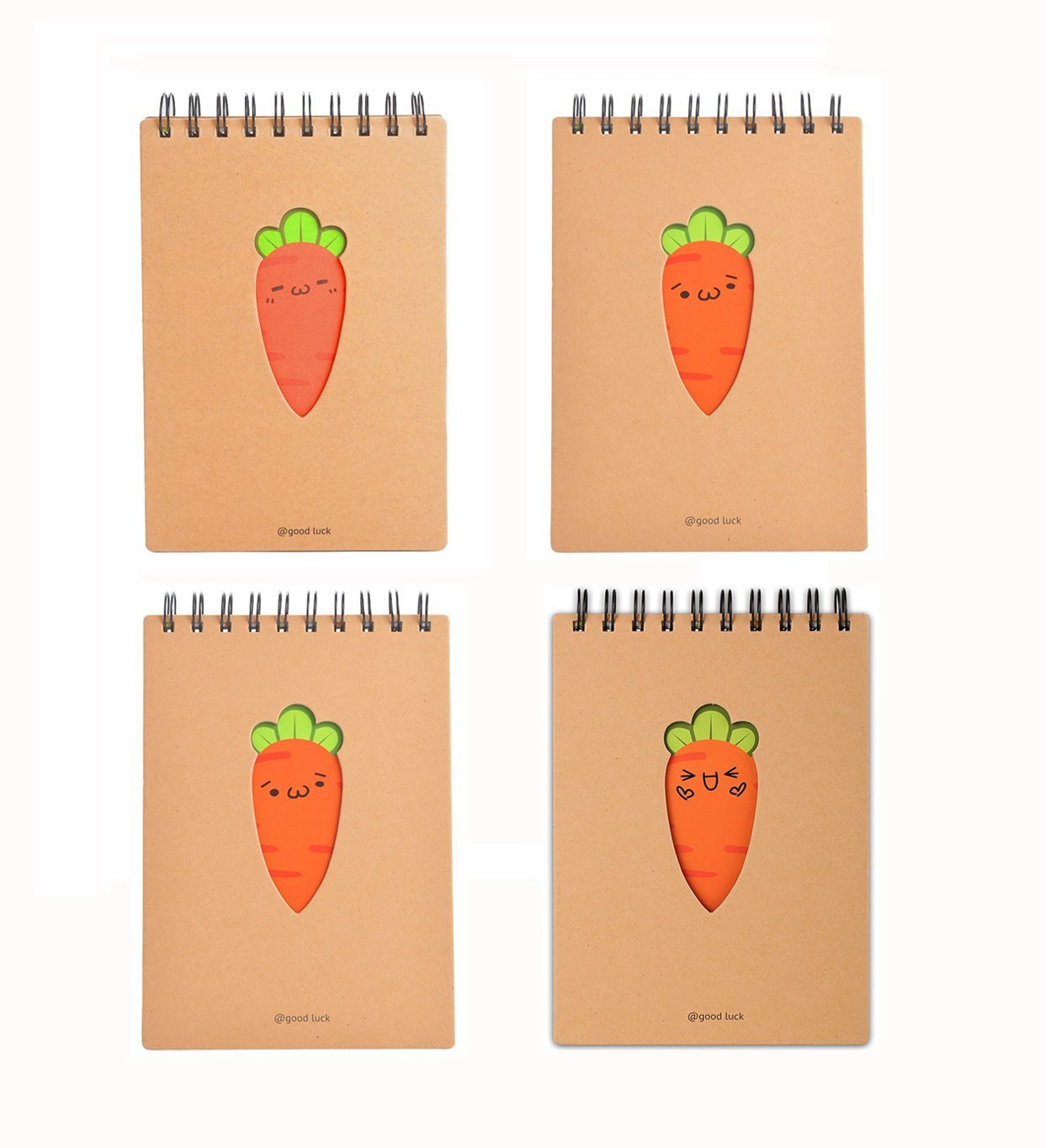 Ai-life 4Pcs Carrot Design Creative Top-Spiral Notepad Memo BooK Writing Journal Diary Planner Organizer, Mini Pocket Size Notepad Memo Pad Scratch Pad, 4Pcs Per Pack