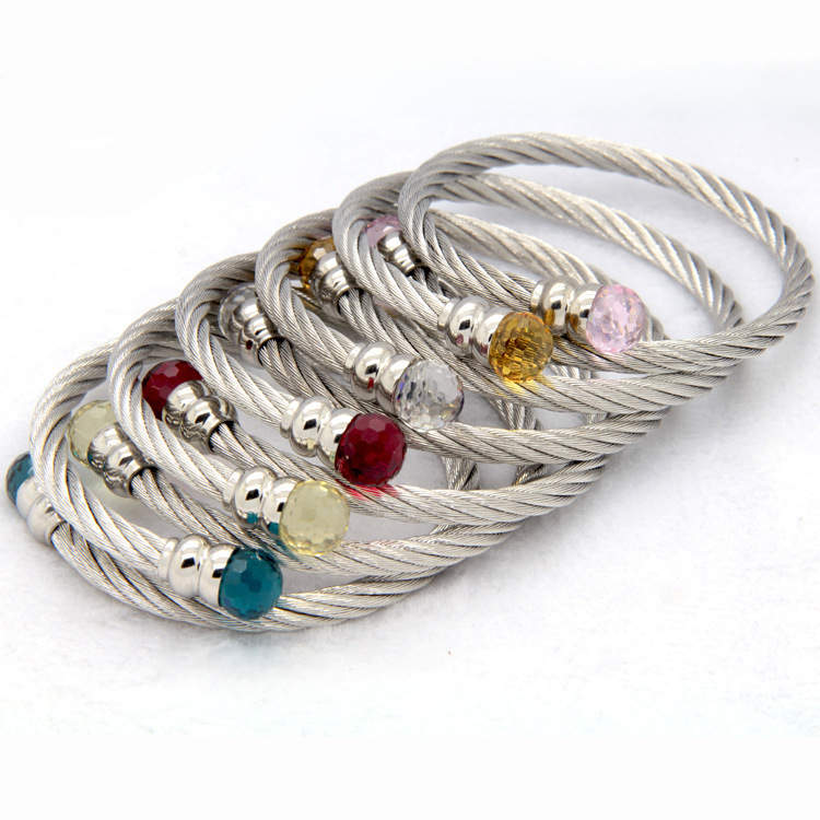 bangles gold product bracelet silver hammered rose steel ball crystal stainless wire clasp bangle women fashion rhinestones jewelry cable magnetic