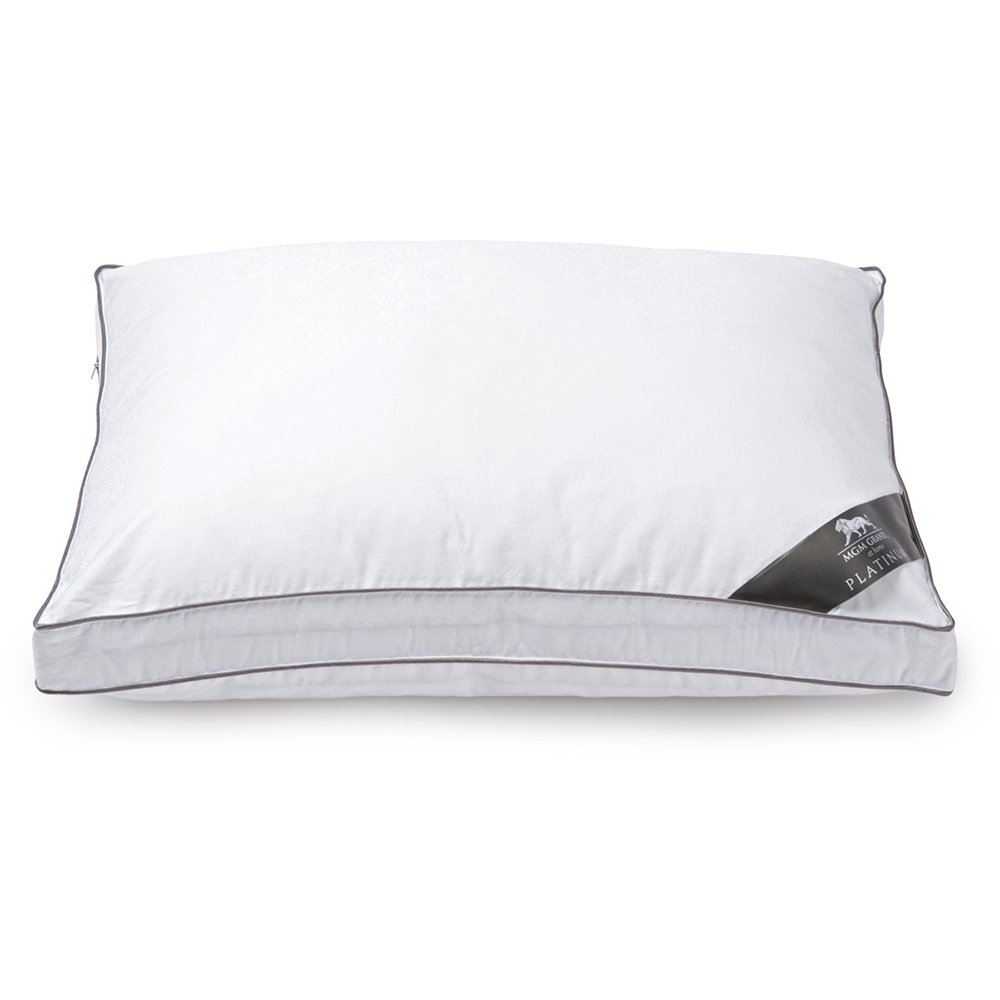 """MGM GRAND at home Platinum Collection Hotel Down Alternative Pillow 500 Thread Count - the Best Pillow for Back & Side Sleeping, 2"""" Gusset - Official MGM Grand Hotel Pillow (Jumbo)"""
