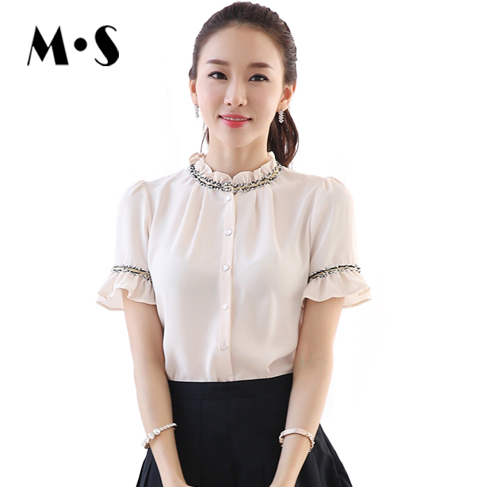 XXL Hot New Fashion Korean Button Shirt Summer Style Elegant Ladies Tops Short Sleeve Chiffon Blouse For Women Office Wear 1850