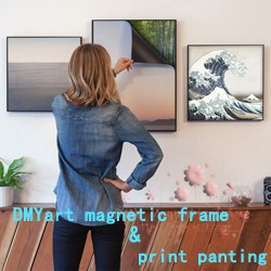 cheap wholesale antique white wooden photo magnetic picture frame & print magnetic painting picture 1013-113