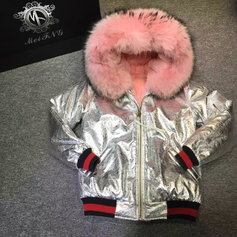 Short PU Sliver Leather Fur Parka For Ladies Winter Wear,Pink Fur Lined itlay top brand style