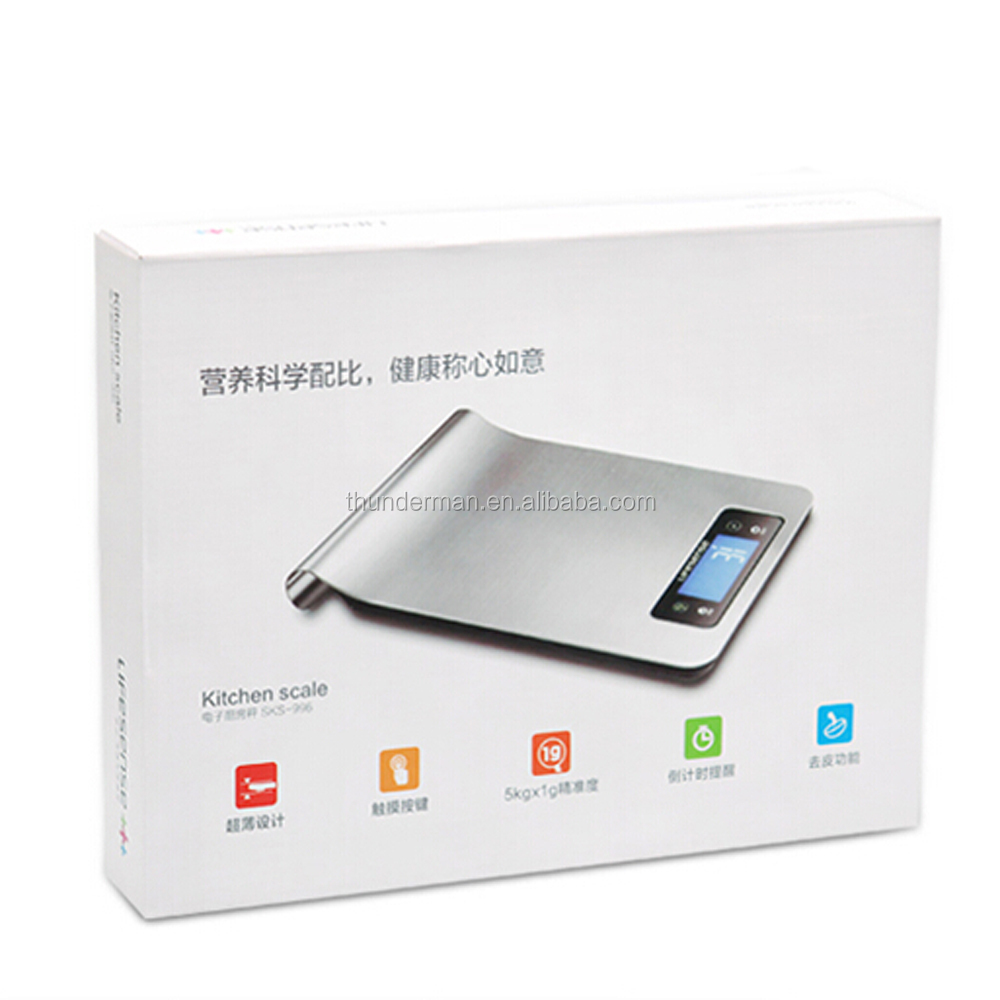 5kg/1g stainless steel digital kitchen scales with timer and temperature function