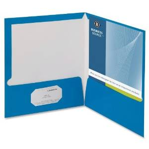BSN44423 - Business Source Two-Pocket Folders with Business Card Holder