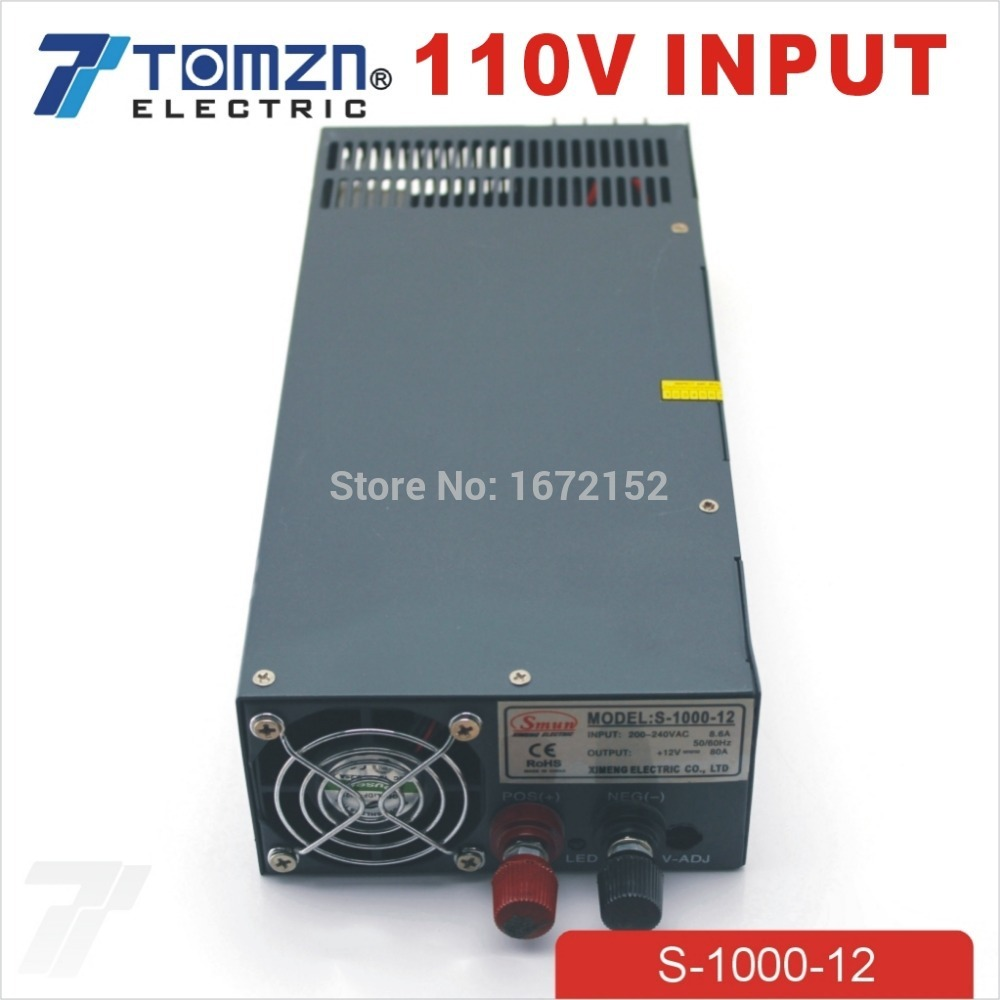 1000W 12V 80A 110V input Single Output Switching power <strong>supply</strong> for LED Strip light AC to DC