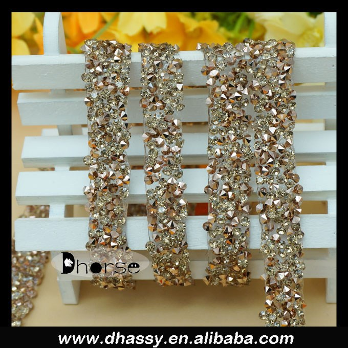 Good price iron on gold rhinestone diamante trim