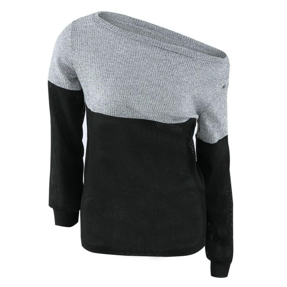 Women's Sweaters,Laimeng Casual Spell Color Long Sleeve Jumper Coat Blouse Sweaters