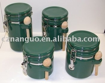 Ceramic Storage Jar Set Of 4 Items With Wooden Spoon Metal Clip