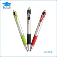Soft silicon grip metal ball pen with twist action