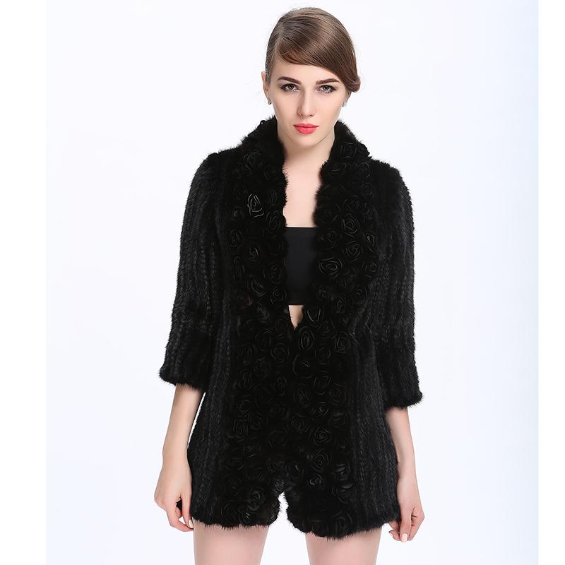c1f4f04a655 Get Quotations · 2015 Knitted Mink Fur Coat Women s Designer Genuine Fur  Coats Front Disk Flowers Mink Coats Women