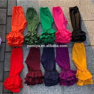 MY-305 hot selling triple ruffle pants for baby girls casual 100% cotton knit long pants multi-colors Toddler boutique